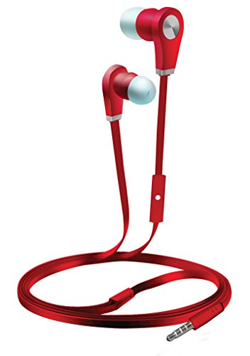 Coby CMB-102-RED Over The Ear Headphones with Built-In Micro