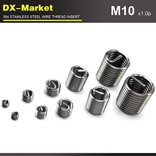 50pcs fine Pitch Thread 304 Thread Inserts Corrosion Resisting Steel antirust Engine Thread Repair Fastener Ochoos m102D1.0P