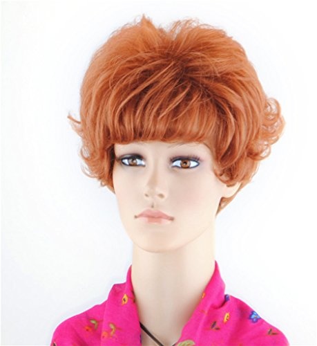 SherryShine Halloween Cosplay 11 inches Short Curly Full Head Fluffy Red Wigs with Neat Bangs and Free Cap and Comb(SXD0365) - Red Head Wigs