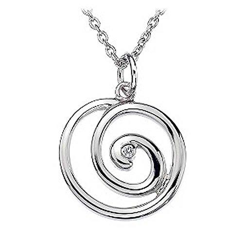 findout collier en argent sterling de diamants cercle creux pendentif (de f1419)