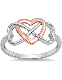 CHOOSE YOUR COLOR Sterling Silver Infinity Heart Promise Ring
