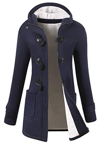 VOGRYE Womens Winter Fashion Outdoor Warm Wool Blended Classic Pea Coat Jacket (7 Days delivery or Refund) (XL, Navy-Thicker)