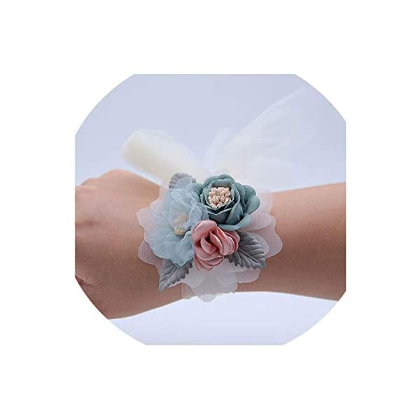 Luohe yuanhui district injury cui department store Elegant Boutonniere Wedding Groom Brooch Wrist Corsage Artificial Silk Flowers Bridesmaids Bracelet Corsage Blue Group
