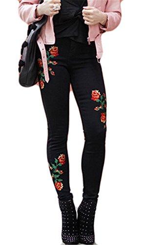 Women Casual Flower Broderie Distressed Bodycon Skinny Denim Pants Pantalons Jeans Noir