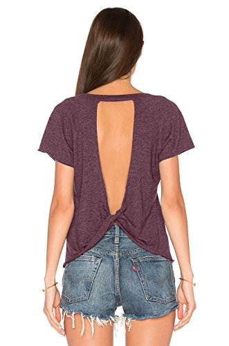 Blooming Jelly Women's Sexy Backless Short Sleeve Top Back Knot Casual Shirt Tee (M, Red) (Poof Tank Tops)