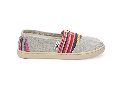 Toms Tiny Classics Slip-On Light Grey Chambray with Pink Woven Size 2 M US Toddler -