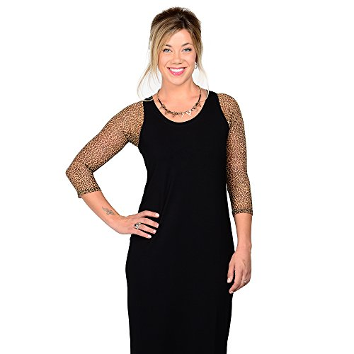 (Sleevey Wonders Women's Basic 3/4 Length Mesh Sleeve Leopard Size)