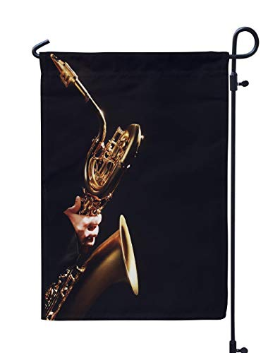 Soopat Jazz Music Seasonal Flag, Saxophone Player Jazz Music Music Sax Black Jazz Weatherproof Double Stitched Outdoor Decorative Flags for Garden Yard 12