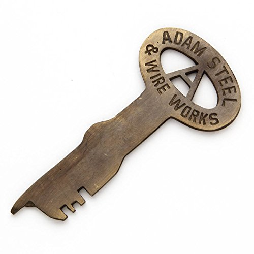 Adam Steel & Wire Works Early 1900's Brass Jailhouse Key