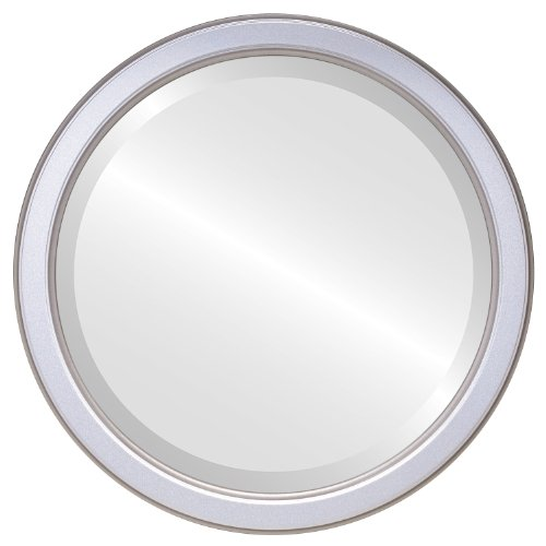 Decorative Mirror for Wall | Framed Round Beveled Wall Mirror | Toronto Style - Silver Spray - 20x20 outside dimensions (Above Bedroom Store 1 Toronto)