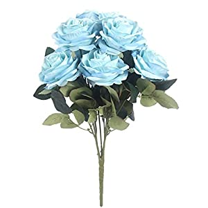 JAROWN 10 Heads French Artificial Rose Silk Flowers Bouquet Arrangement for Wedding Home Decor Party Accessory Flores (Light Blue) 73