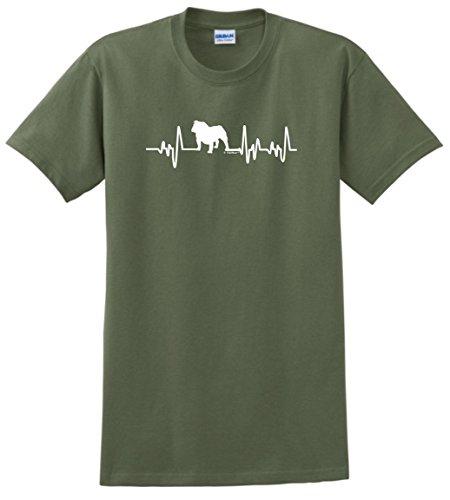 English Bulldog Rescue Mom Dad English Bulldog Gifts Dog Lover Heartbeat Bulldog T-Shirt 3XL MlGrn ()