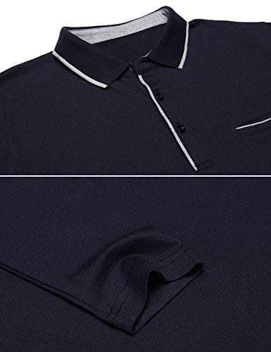 COOFANDY Men's Long Sleeve Polo Shirt Classic Causal Business Slim Fit Cotton Short Sleeve Polo T Shirts,Navy Blue,Large by COOFANDY (Image #3)