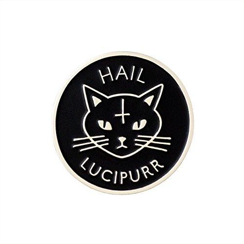 Hail Lucipurr Enamel Lapel Pin - Evil Black Cat Flair - By Eel Pop ()