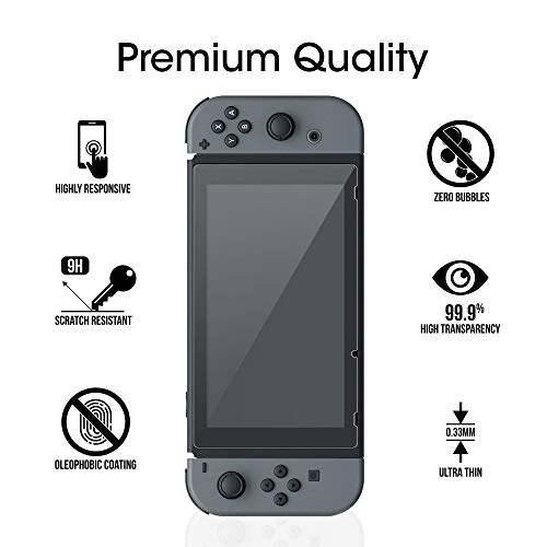 amFilm Tempered Glass Screen Protector for Nintendo Switch 2017 (2-Pack)