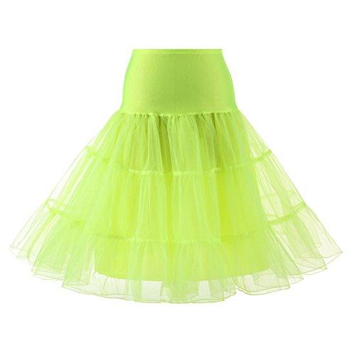 longueur vintage Rockabilly annes Petticoat tailles Citron tulle 65cm Femme en 4 Comall 50 choisir Jupon Vert qE0xzCxwI