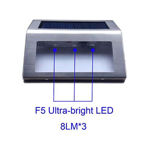 50%OFF Solar Step Lights, [UPGRADED]iThird 3 LED Solar Powered Stair