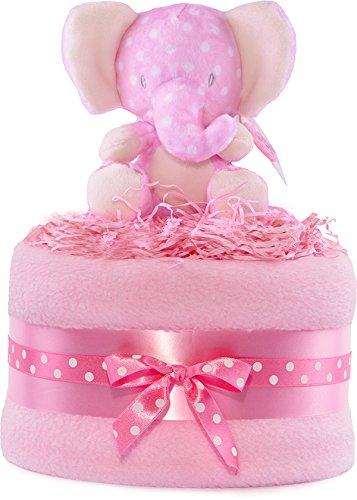 Jungle Windeltorte–Elefant pink und weiß Mädchen Baby Geschenkkorb PureNappyCakes