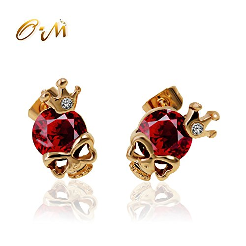 Onairmall Crown Diamond Small Gold Skeleton Head Skull Stud Earrings for Girls Women Fashion Jewelry