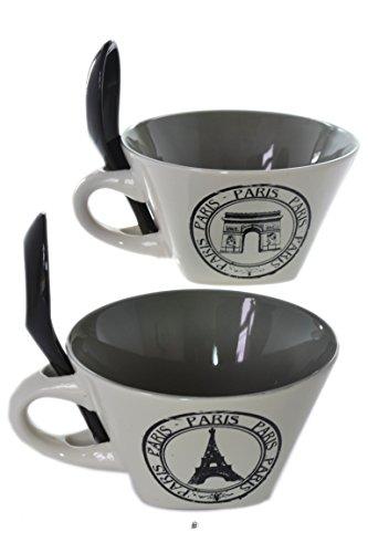 Set 2 Paris Eiffel Tower 14oz Stoneware Cafe Coffee Latte Bowls Spoons in Handle