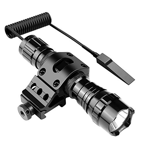 (Feyachi FL11 Tactical Flashlight 1200 Lumen LED Light with Picatinny Rail Mount for Outdoor Hunting Shooting, Rechargeable Batteries and Remote Switch Included)