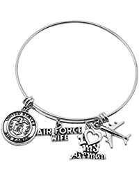 Military Mom Wife Bracelet Expandable Wire Bangle Jewelry Gifts for Women