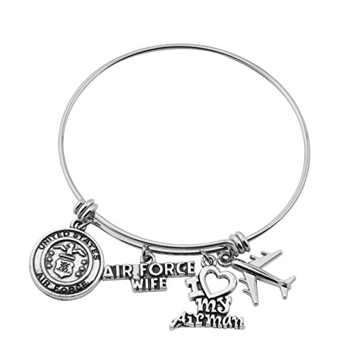 Gzrlyf Military Mom/Wife Bracelet Expandable Wire Bangle Jewelry Gifts for Women (Air Force Wife Bracelet)