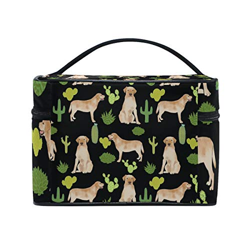 (Labrador Retriever Mint Cosmetic Bags Organizer- Travel Makeup Pouch Ladies Toiletry Train Case for Women Girls, CoTime Black Zipper and Flat Bottom)
