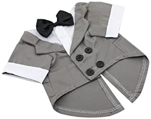 Love Long Long 13-Inch Wedding Tuxedo with Black Bow Tie, Small Dog, Grey/White