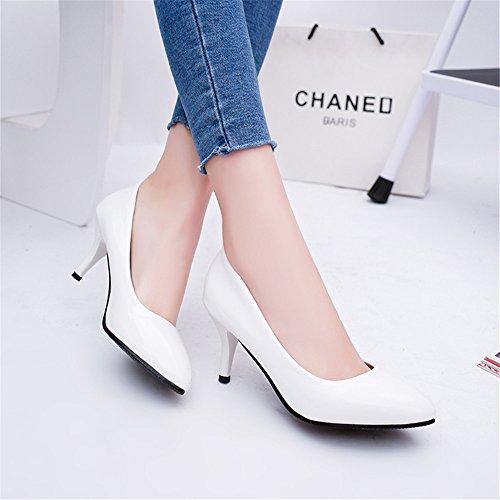 TMKOO 2017 nueva boca baja señaló talones finos con zapatos de charol 6cm profesional de los zapatos sólidos de la boda Blanco