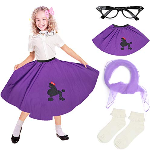 Beelittle 4 Pieces 50s Girls Costume Accessories Set - Vintage Poodle Skirt, Chiffon Scarf, Cat Eye Glasses, Bobby Socks (E-Deep Purple) for $<!--$17.99-->