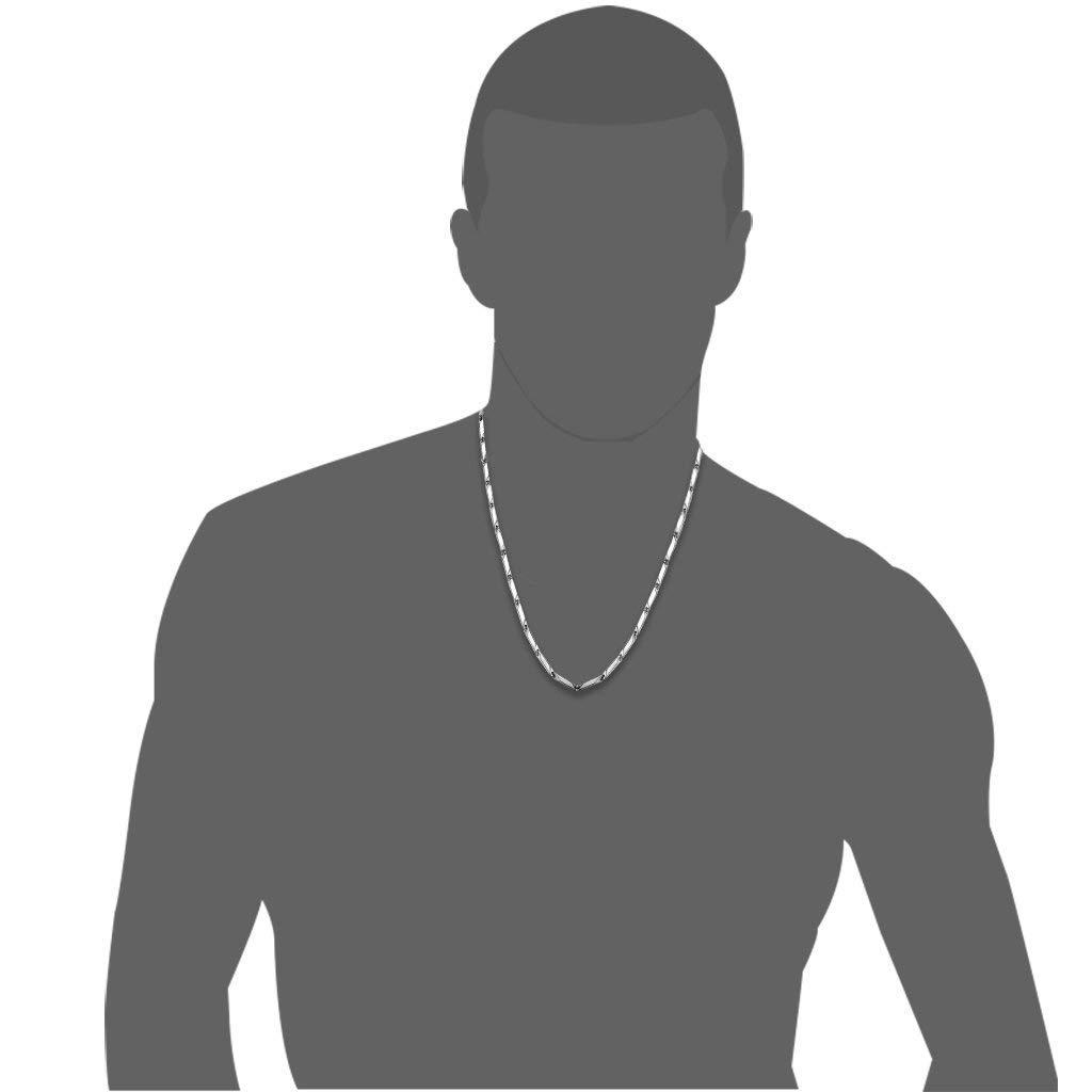Finrezio 3mm Collier en Acier Inoxydable pour Homme Collier Hip Hop Cha/îne Longeur 46-76cm