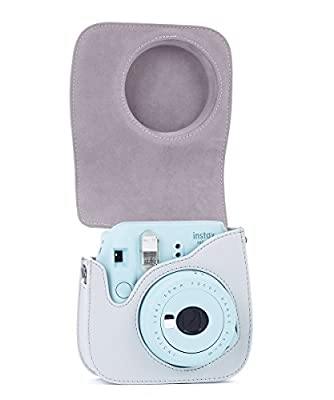 Phetium Soft PU Leather Protective Case with Shoulder and Pocket for Fujifilm Instax Mini8 8+/Mini9 Instant Camera