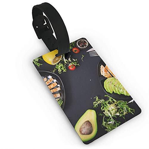 Dinzisalugg Luggage Tag Healthy dish with chicken tomatoes avocado By Travel Accessories Suitcase Tags Identifiers Business ID Tags Baggage Tags Size 3.7