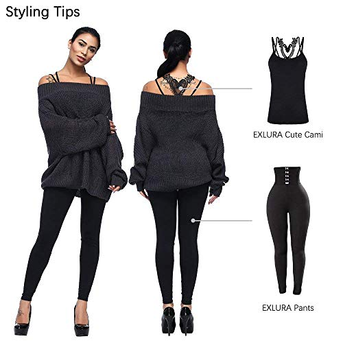 58565d436e52dc Exlura Women s Off Shoulder Batwing Sleeve Loose Oversized Pullover Sweater  Knit Jumper - Black