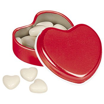 Heart-Shaped Tins With Mints - Valentine's Day &...