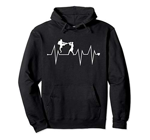 Funny Mixed Martial Arts MMA Heartbeat Heart Pulse Rate EKG Pullover Hoodie