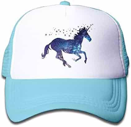 32d19d89224bd Adjustable Caps Kids Starry Sky Magic Unicorn Horse Trucker Mesh Hats  SkyBlue
