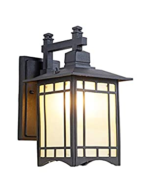 Tokyo Pavilion Outdoor Wall Sconce,Exterior Wall Light Fixtures,Outdoor Indoor Wall Lantern Black Cast Aluminum with Frosted Glass for Garden Patio Pathway Staircase Balcony