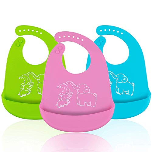 Waterproof Silicone Bibs, Ezire Comfortable Soft Baby Bibs Keep Stains Off! Easy Clean with Big Roll Up Pocket for Babies or Toddlers. Set of 3 Colors, Blue, Medium