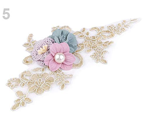 1pc 5 Turquoise Yoke Applique / 3D Insert 9.5x23 cm Flowers, Appliques, Clothing, Footwear Decor and Accessories, Haberdashery