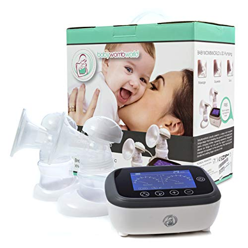 Double Electric Breast Pump Portable : Rechargeable on The go Battery Breastpump. Advanced Hands Free in Style Tavel 3D Electronic Machine Pumps for Mom