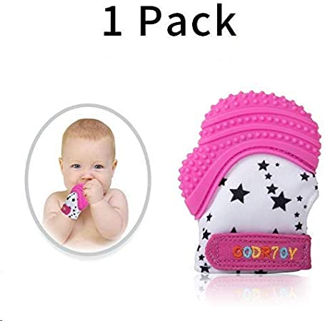 Baby Teething Mittens Prevent Scratches Protection Glove with Travel Bag Self Soothing Pain Relief Mitt Stay on Baby/'s Hand 1 pack blue Stimulating Teether Toy Unisex for 0-6 Months Baby