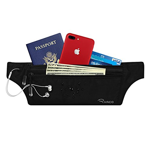 (Ryaco Travel Wallet with RFID Blocking, Passport Holder/Money Belt, Durable Comfortable Lightweight Waterproof Secure Hidden Travel Pouch for Running, Cycling, Hiking, Black)