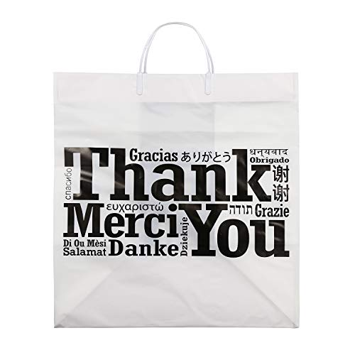 Royal Recyclable Plastic Shopping Bags with Rigid Handles, 14'' x 10'' x 15'', Multilingual''Thank You'' Design, Case of 100 by Royal (Image #2)