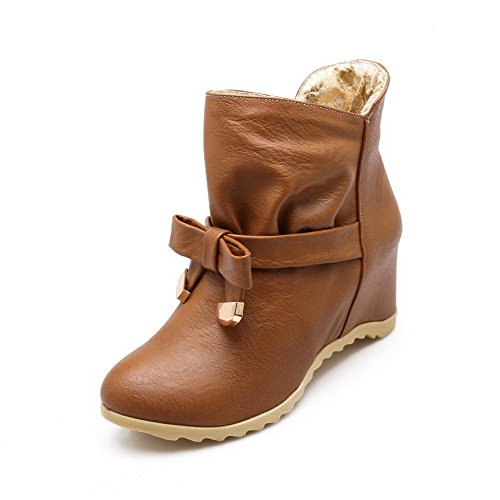 Allhqfashion Women's Solid PU High-Heels Pull-On Round Closed Toe Boots Brown gKaysyfTWq