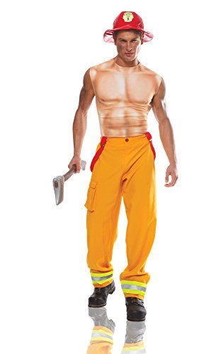 Costume Culture Men's Sexy Firefighter Dude Costume, Yellow, Standard (Mens Sexy Firefighter Costume)