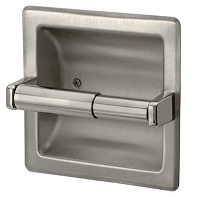Brushed Nickel Recessed Toilet Paper Holder - Includes Rear Mounting Bracket