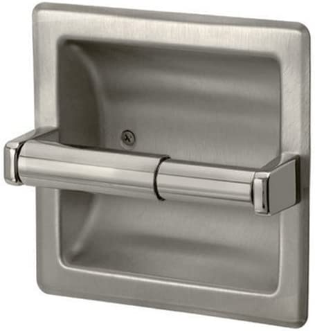 SMACK Brushed Nickel Recessed Toilet Paper Holder,Contemporary Hotel Style Wall