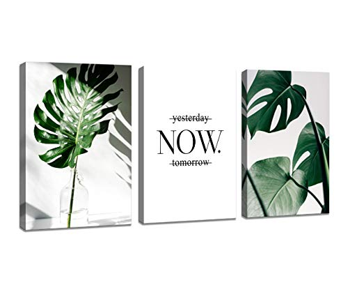 H72534 Wall Art Nordic Canvas Painting Modern Prints Plant Leaf Art Canvas Prints Green Art Wall Pictures for Home Decoration Kitchen Office Wall Decor (Wall By Art)
